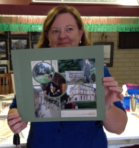 Evelyn with her fabulous Reve page - finished with a brick deco stencil.